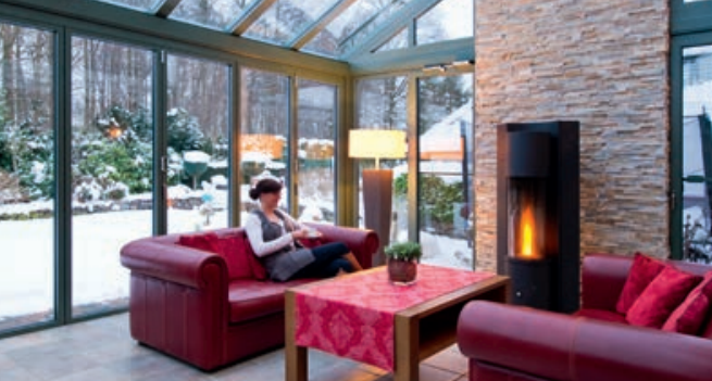 wood burner in conservatory